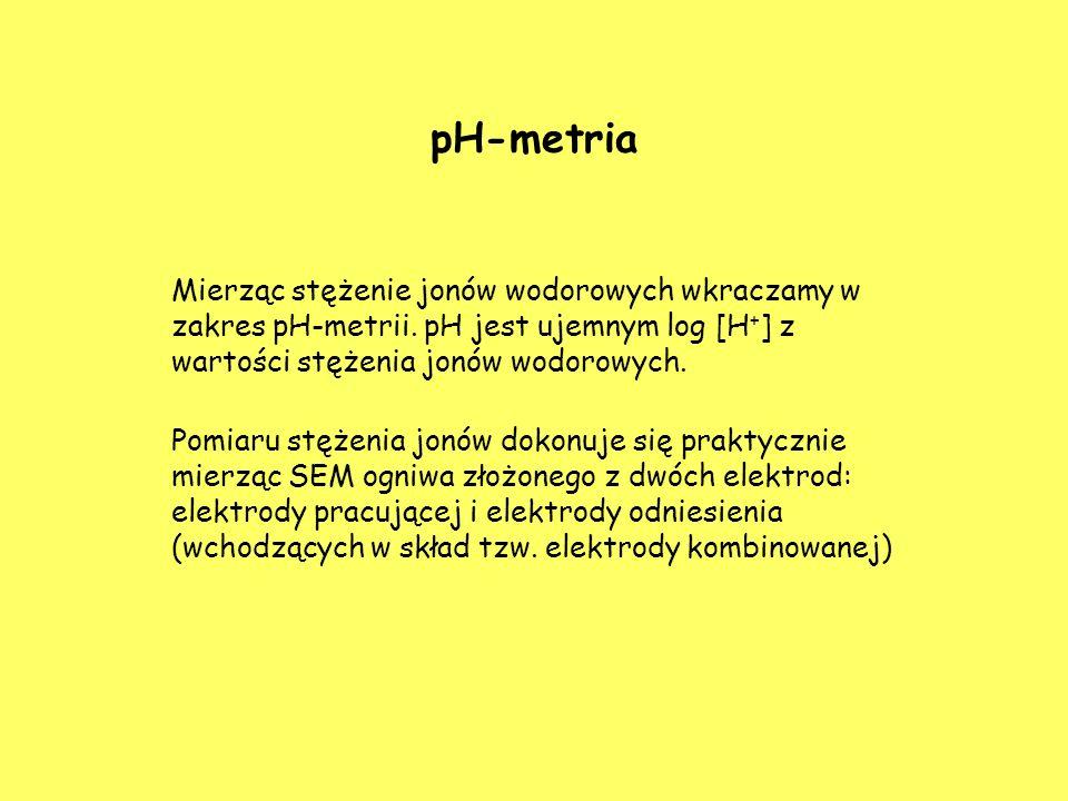 pH-metria Mierząc stężenie jonów wodorowych wkraczamy w zakres pH-metrii. pH jest ujemnym log [H+] z wartości stężenia jonów wodorowych.